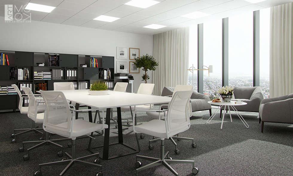 Gabinet z miejscem do pracy zespołowej: styl , w kategorii Przestrzenie biurowe i magazynowe zaprojektowany przez Pracownia projektowa artMOKO