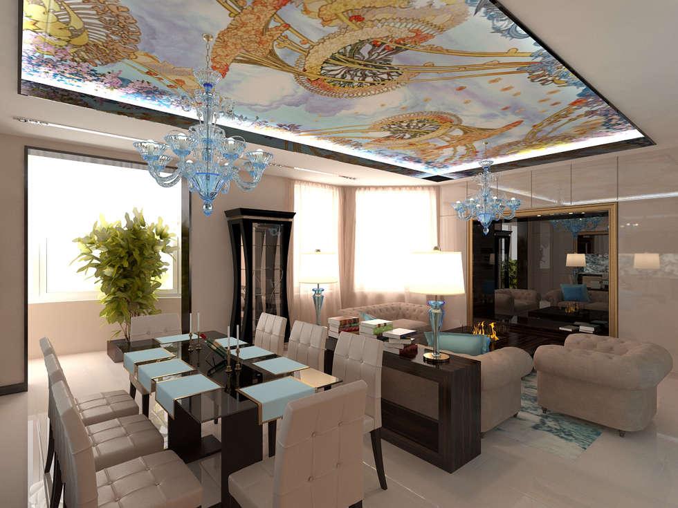 Интерьер гостиной в стиле модерн: Гостиная в . Автор – Студия дизайна интерьера Руслана и Марии Грин