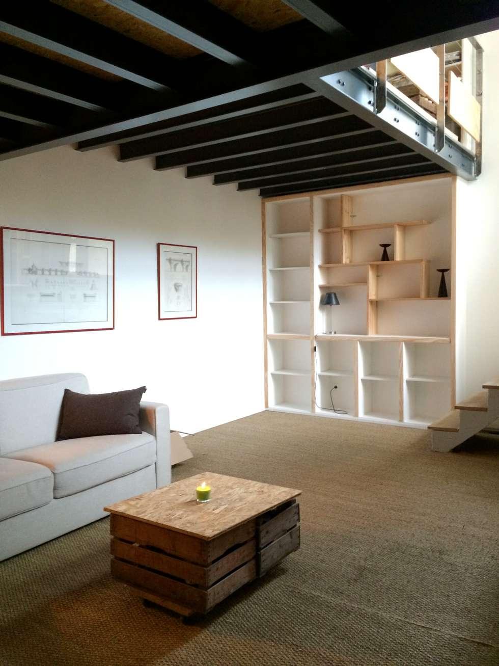 Salon ( niveau -1): Salon de style de style Moderne par Atelier d'Ersu & Blanco