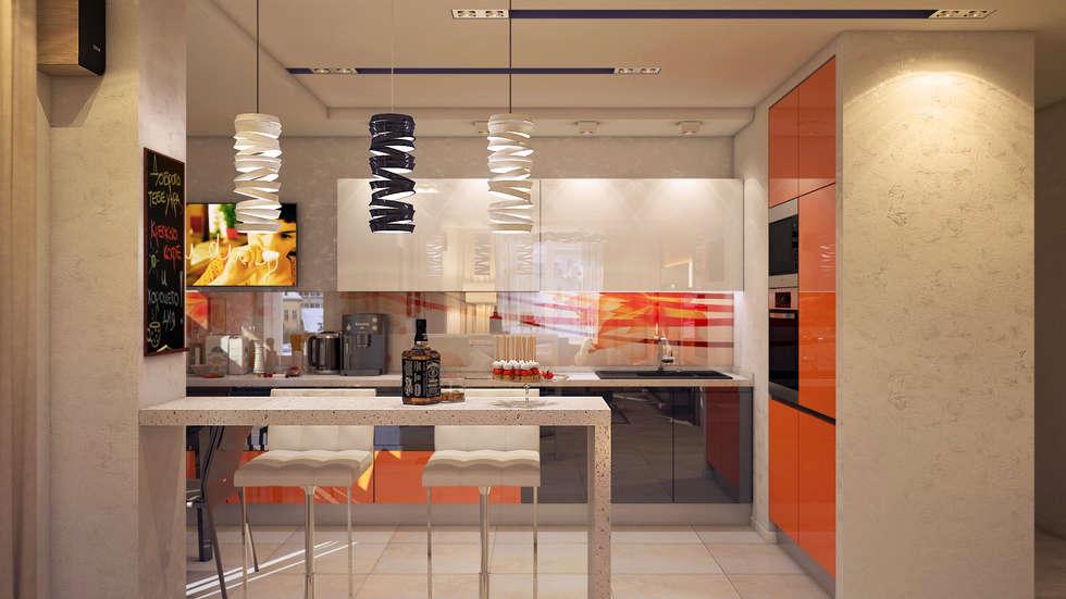 Гостиная-Кухня: Кухни в . Автор – tatarintsevadesign