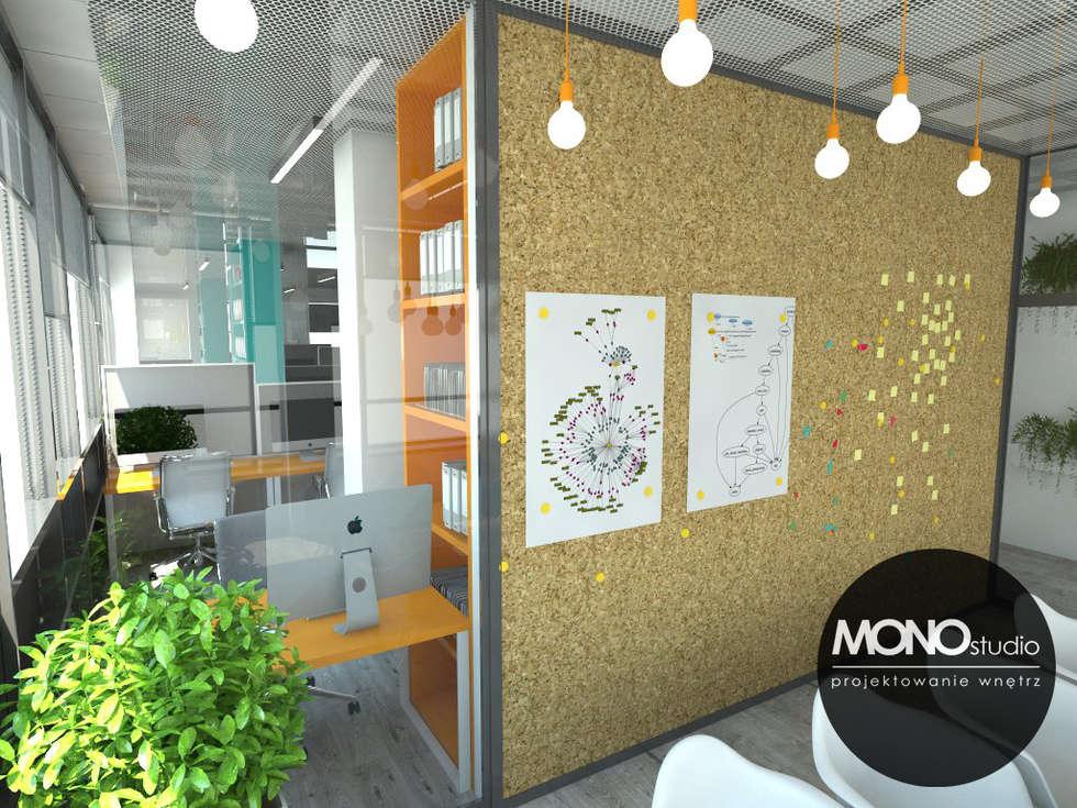 Nowoczesna przestrzeń biurowa: styl , w kategorii Przestrzenie biurowe i magazynowe zaprojektowany przez MONOstudio