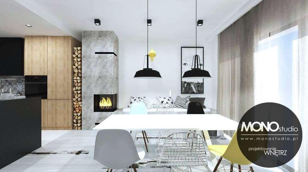 Styl skandynawski z industrialnym: styl , w kategorii Jadalnia zaprojektowany przez MONOstudio
