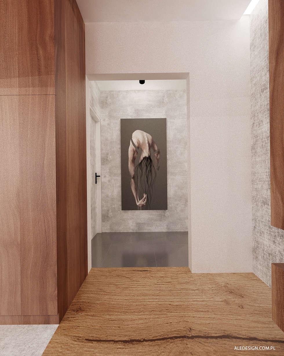 Przedpokój w szarości: styl , w kategorii Korytarz, przedpokój zaprojektowany przez Ale design Grzegorz Grzywacz