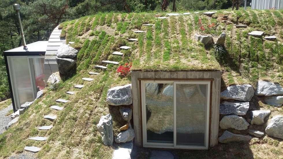 흙덮힌 주방지붕: Just-In House(져스틴 하우스)의  주택