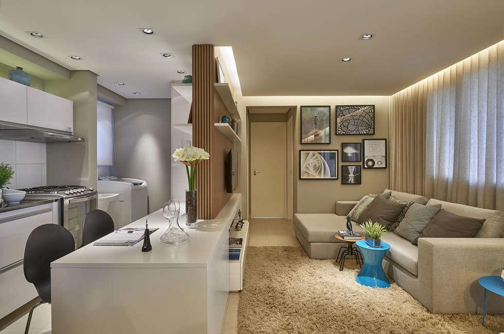 Sala de estar e cozinha americana: Salas de estar modernas por Fernanda Sperb Arquitetura e interiores