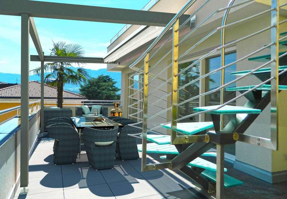 Vista terrazzo al piano: Terrazza in stile  di Grendene Design