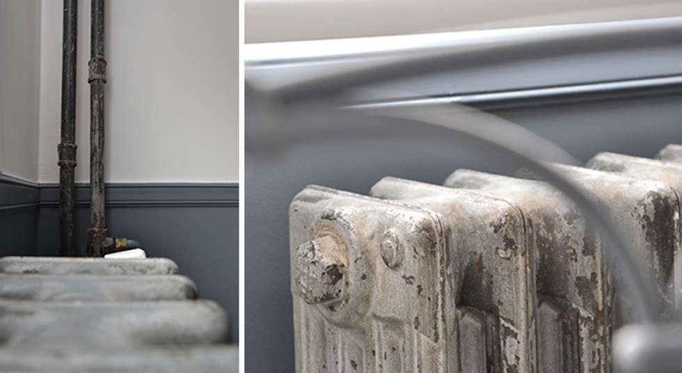 Détail radiateurs - Appartement Boulogne: Salon de style de style Industriel par A comme Archi