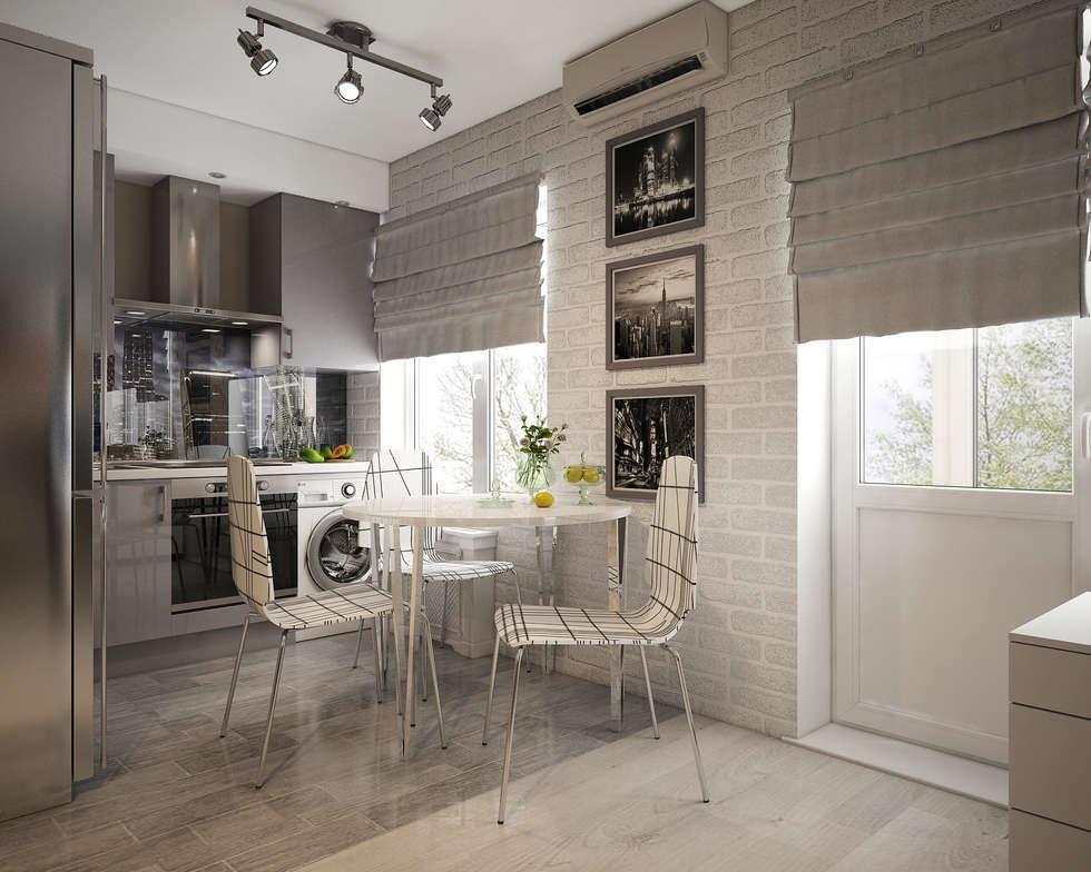 Дизайн однокомнатной квартиры в хрущевке.: Кухни в . Автор – «Студия 3.14»