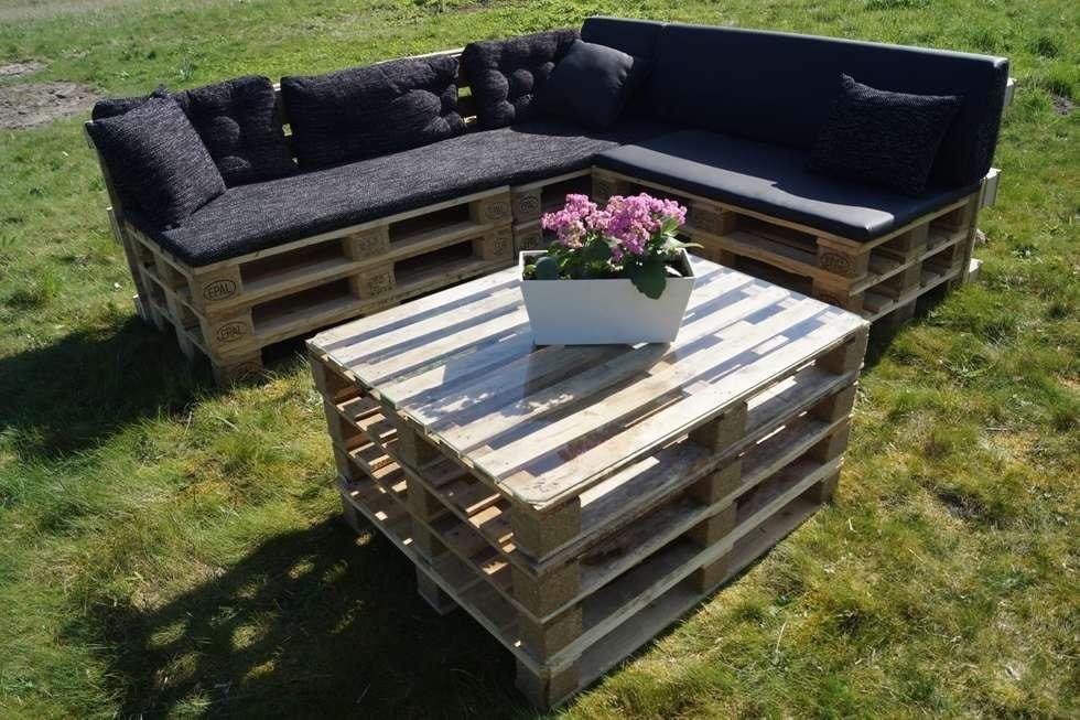 Loungebank + Tafel: industriële Tuin door Pallethandel Zoetermeer