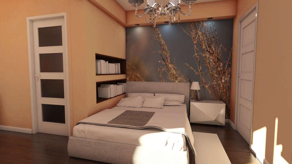 Sypialnia morelowa: styl , w kategorii Sypialnia zaprojektowany przez Katarzyna Wnęk