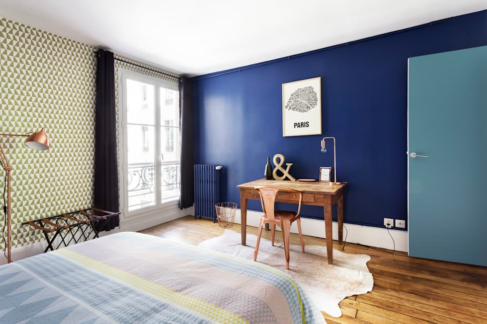 Chambre - Appartement industriel chic & moderne 55m2 - 75010 Paris: Chambre de style de style Industriel par Espaces à Rêver
