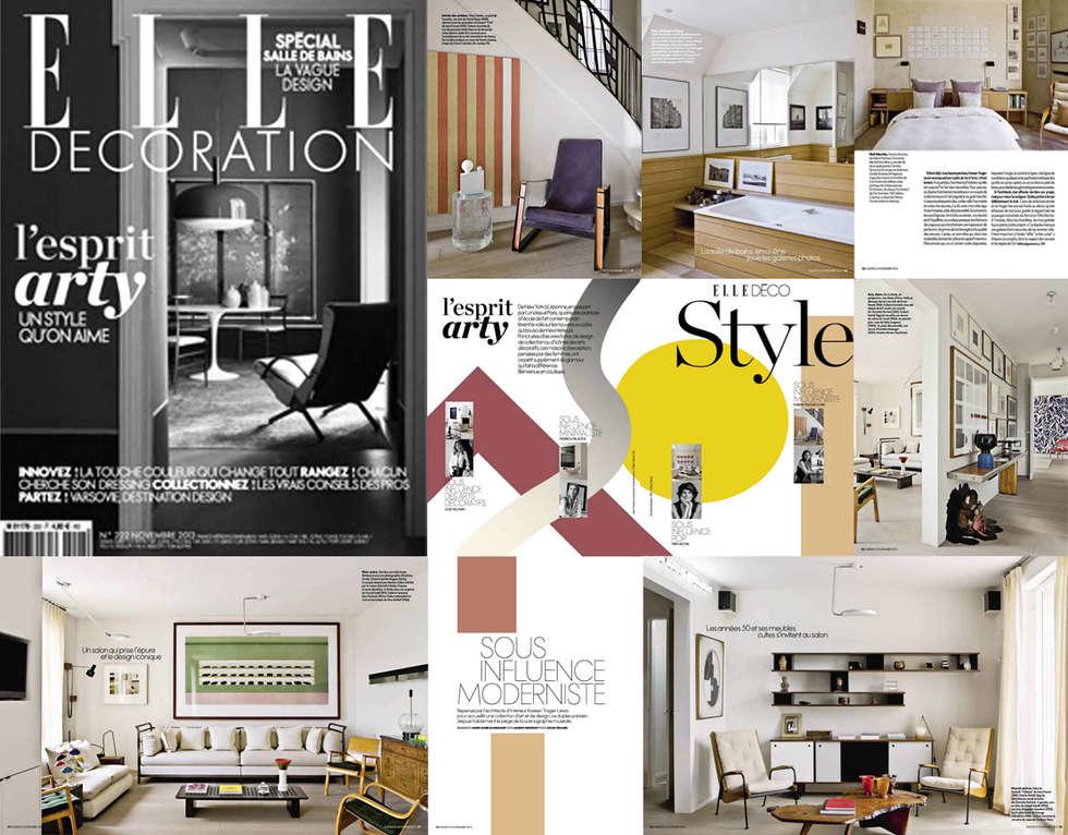 """Parution """"ELLE DECO"""" Novembre 2013: Couloir et hall d'entrée de style  par KTL Interiors  by Kareen Trager-Lewis"""