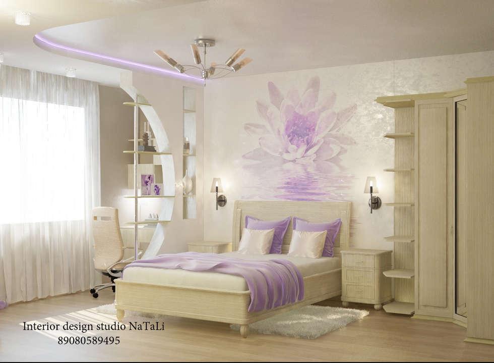 Дизайн квартиры в современном стиле: Спальни в . Автор – Interior design studio NaTaLi ( Студия дизайна интерьера Натали)