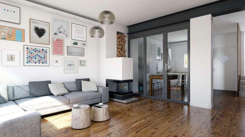 Rendering soggiorno con vetrata chiusa in stile di a studio