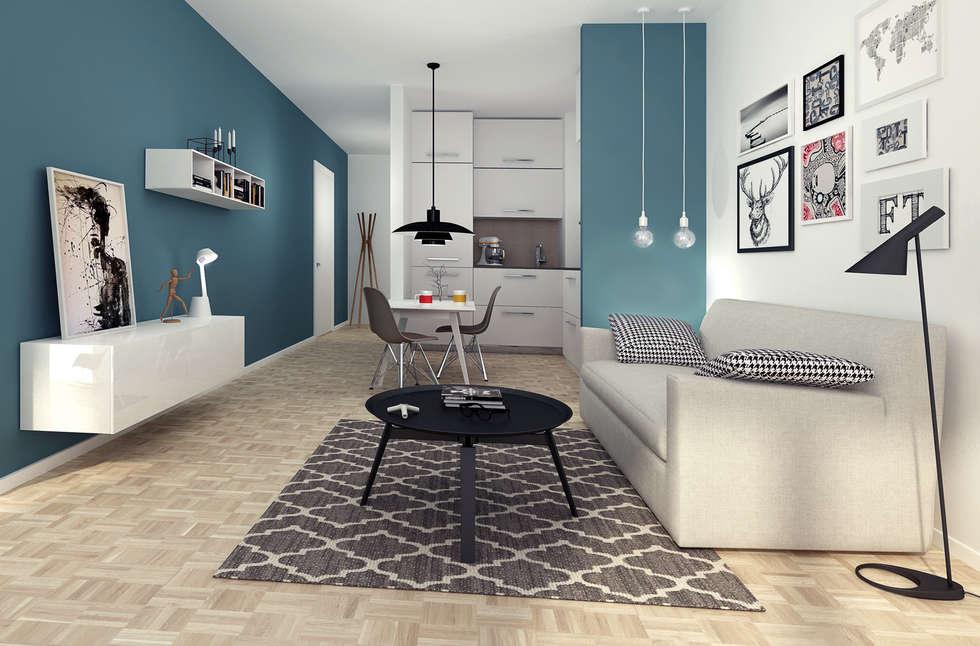Rendering e progettazione arredo bilocale a Milano: Soggiorno in stile in stile Eclettico di RenderLab