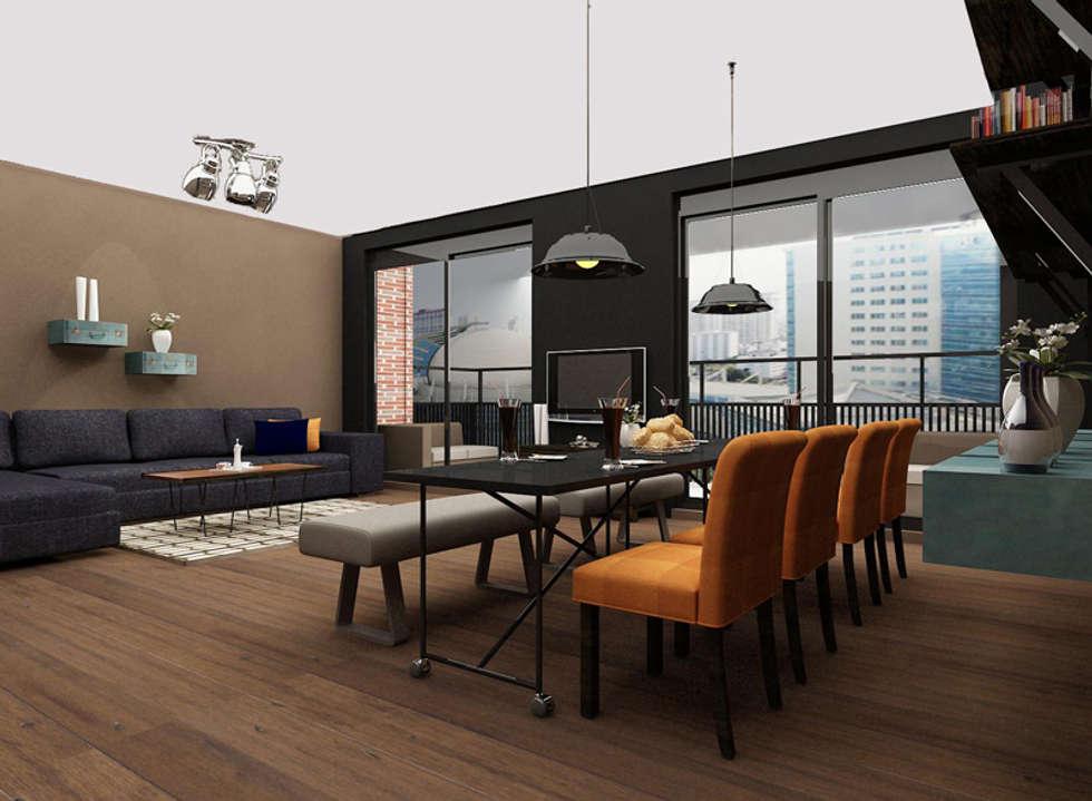 Cozy bachelor loft: moderne Woonkamer door Levenssfeer