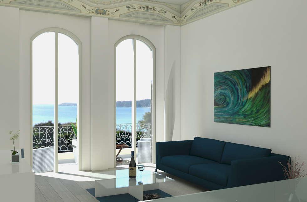 Belvedere: Soggiorno in stile in stile Moderno di MK Designer Studio   Project & 3D ArchViz