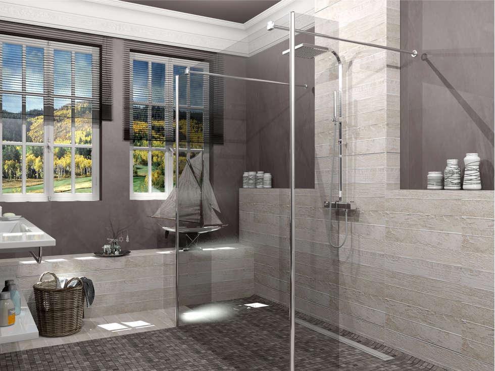 Perspective côté fenêtre: Salle de bains de style  par Architecture du bain