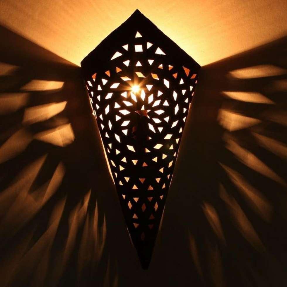 Orientalna ścienna lampa żelazna EWL03: styl , w kategorii Miejsca na imprezy zaprojektowany przez DomRustykalny.pl