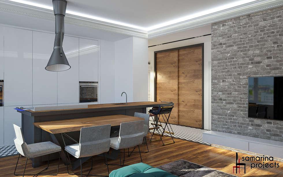 """Дизайн квартиры """"Геометрия цвета"""": Кухни в . Автор – Samarina projects"""