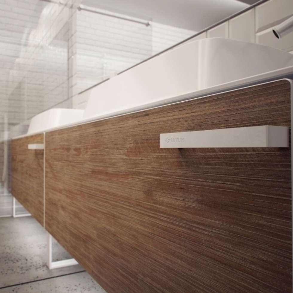 Minimalistyczna łazienka od LUXUM: styl , w kategorii Łazienka zaprojektowany przez Luxum