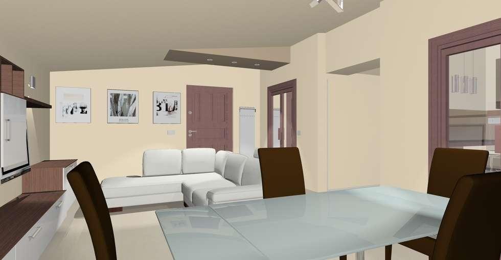 Rendering del soggiorno : Soggiorno in stile in stile Moderno di Nouveau Atelier Design