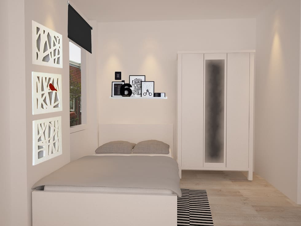 Second bedroom in white: moderne Slaapkamer door Levenssfeer