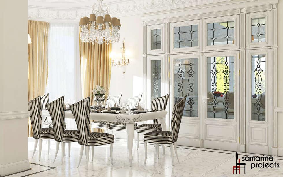"""Дизайн загородного дома """"Классический аквамарин"""": Столовые комнаты в . Автор – Samarina projects"""