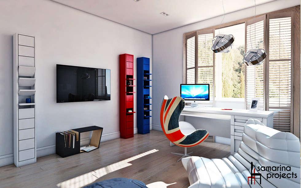 """Дизайн загородного дома """"Комната современного  подростка"""": Детские комнаты в . Автор – Samarina projects"""