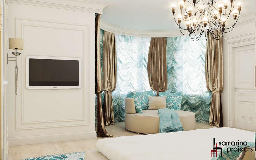"""Дизайн загородного дома """"Классический аквамарин"""": Спальни в . Автор – Samarina projects"""