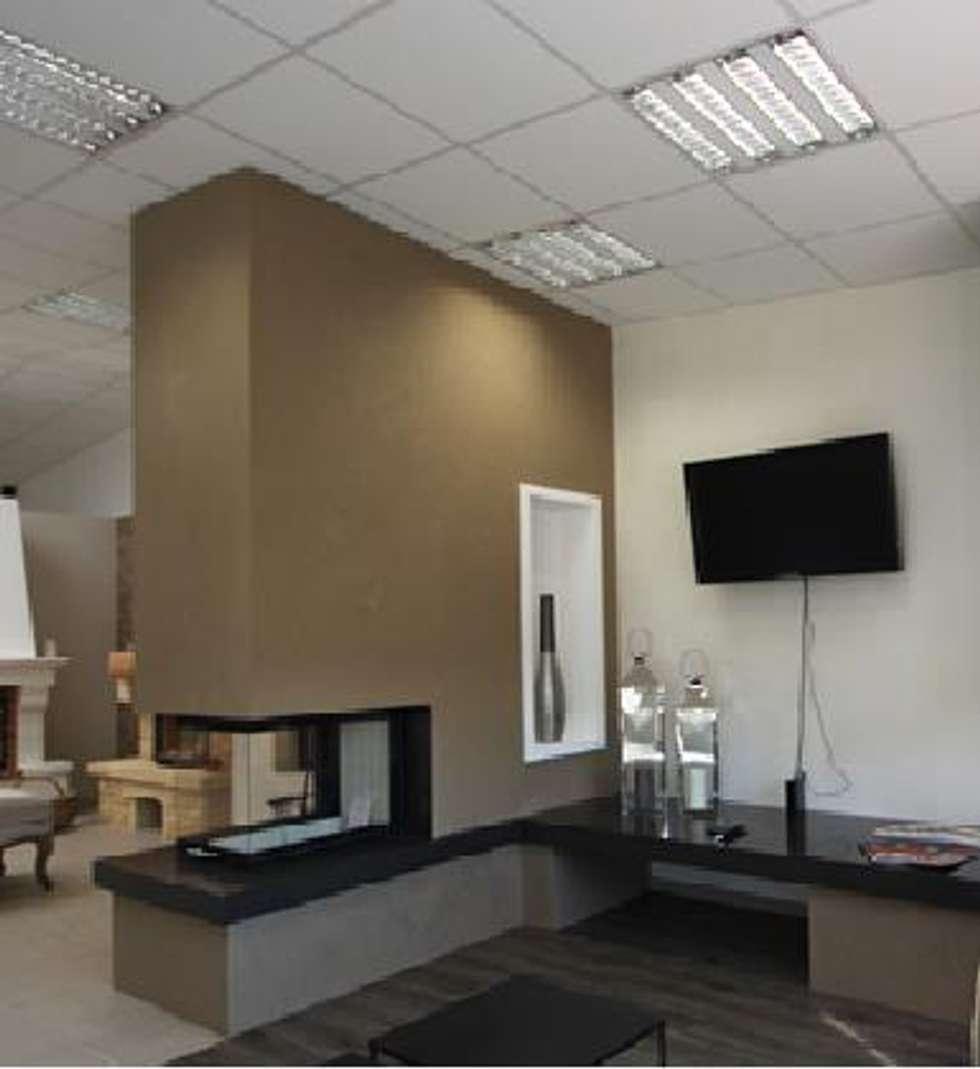 cheminée en épi : Salon de style de style Moderne par boisaubert.denis