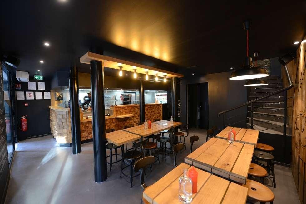 Restaurant Big Fernand: Espaces commerciaux de style  par Agathe Convert, Création d 'Interieurs