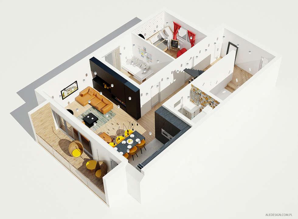 Projekt mieszkania 118m2 w Villa lux w Dąbrowie Górniczej: styl minimalistyczne, w kategorii Domy zaprojektowany przez Ale design Grzegorz Grzywacz