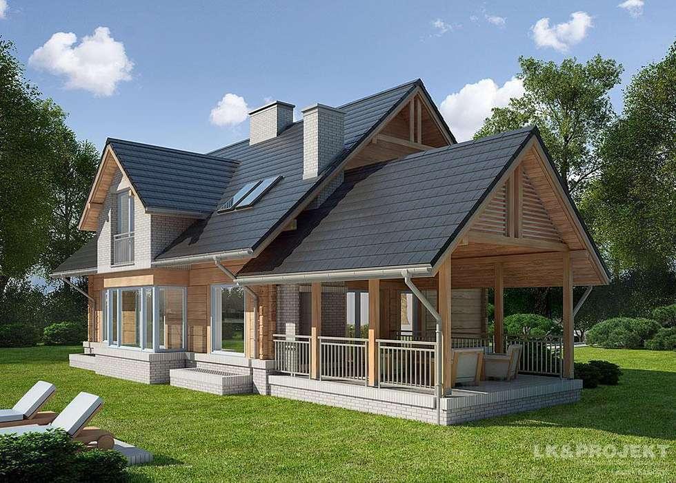 LK&909 perspektywa ogrodowa: styl , w kategorii Dom z drewna zaprojektowany przez LK & Projekt Sp. z o.o.