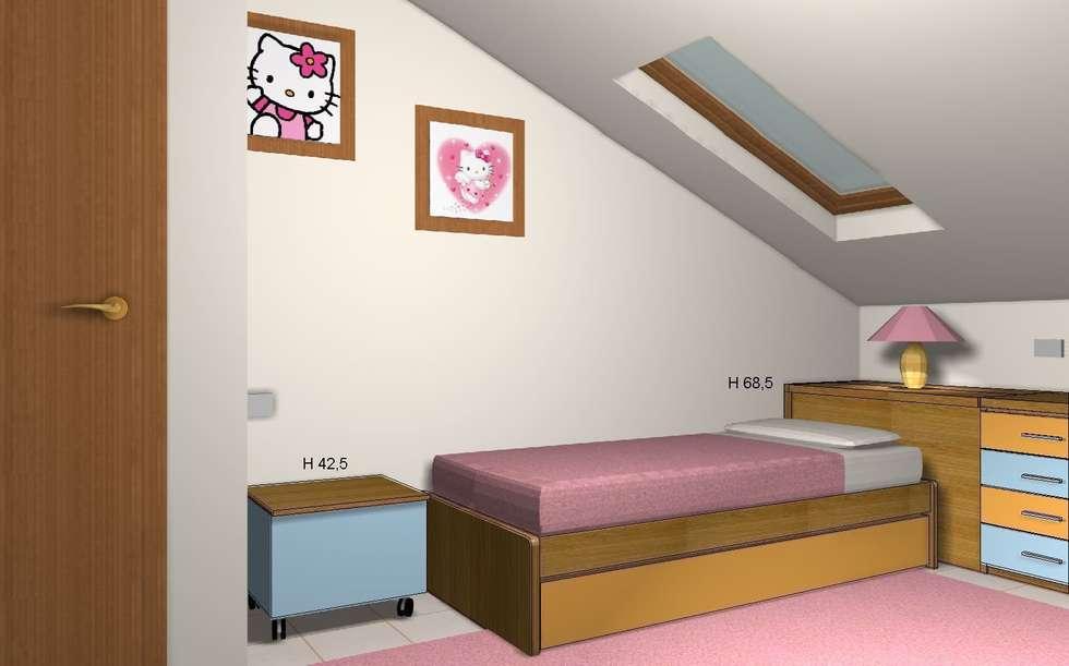 Render zona letto: Stanza dei bambini in stile in stile Moderno di JP.design