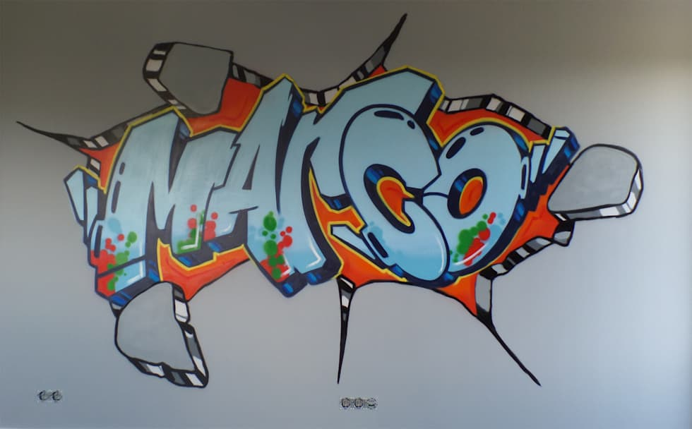 Graffiti slaapkamer marco: moderne slaapkamer door mooie graffiti ...