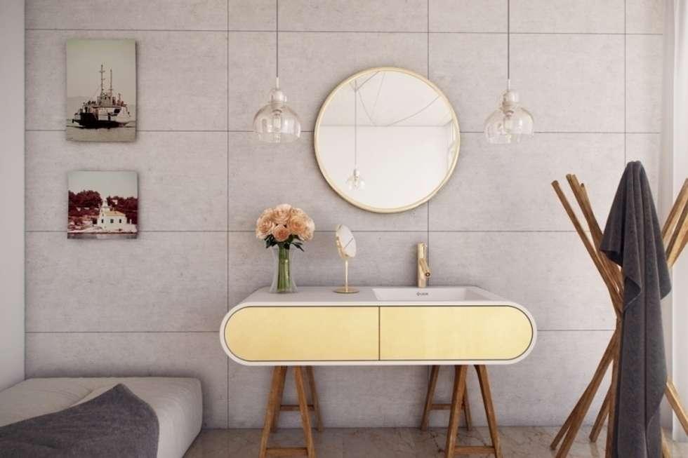 Nowoczesna umywaka połączona z szafką: styl , w kategorii Łazienka zaprojektowany przez Luxum