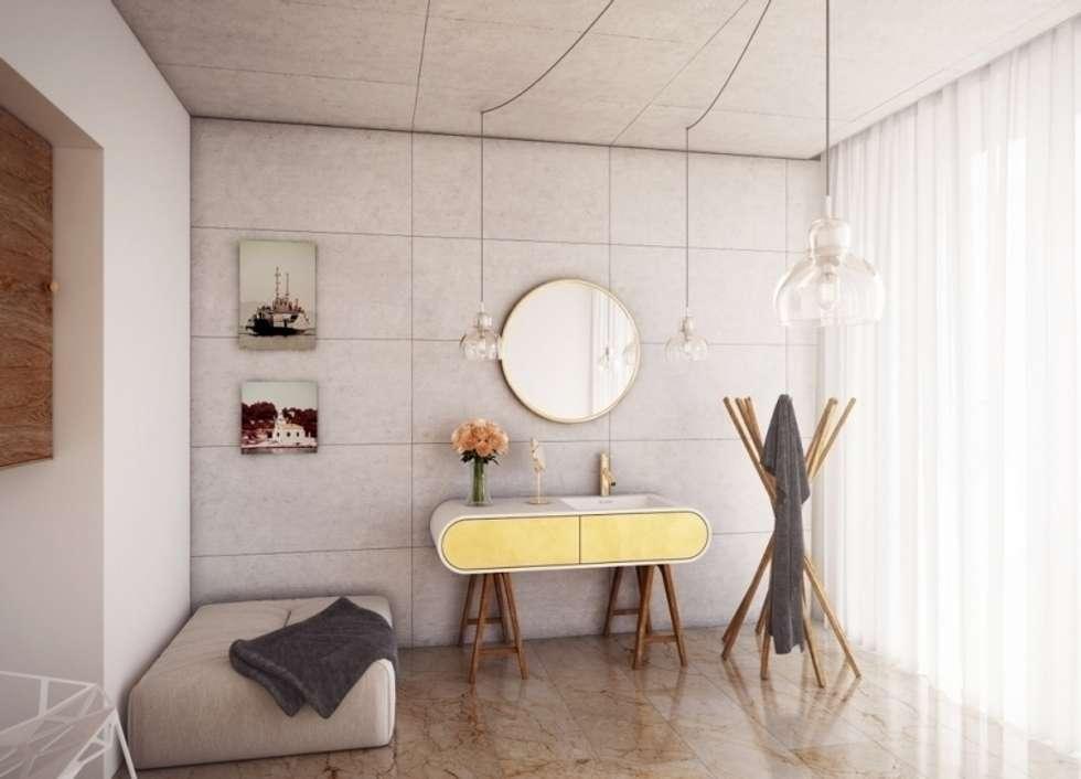 Nowoczesna umywalka połączona z szafką: styl , w kategorii Łazienka zaprojektowany przez Luxum