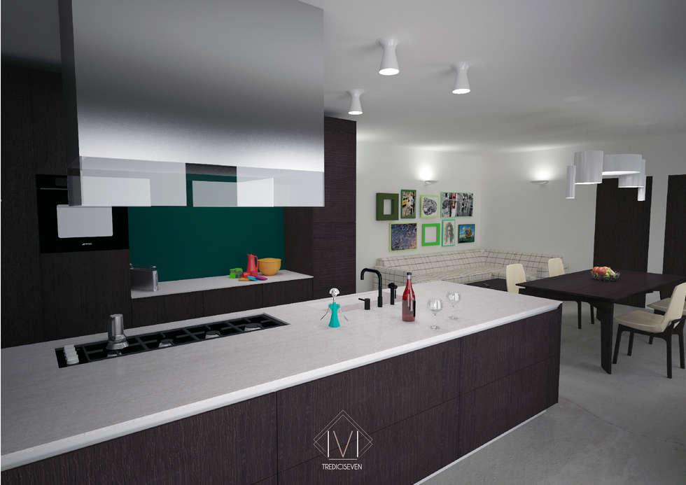 Render foto realistico cucina prima proposta: Cucina in stile in stile Moderno di 13seven
