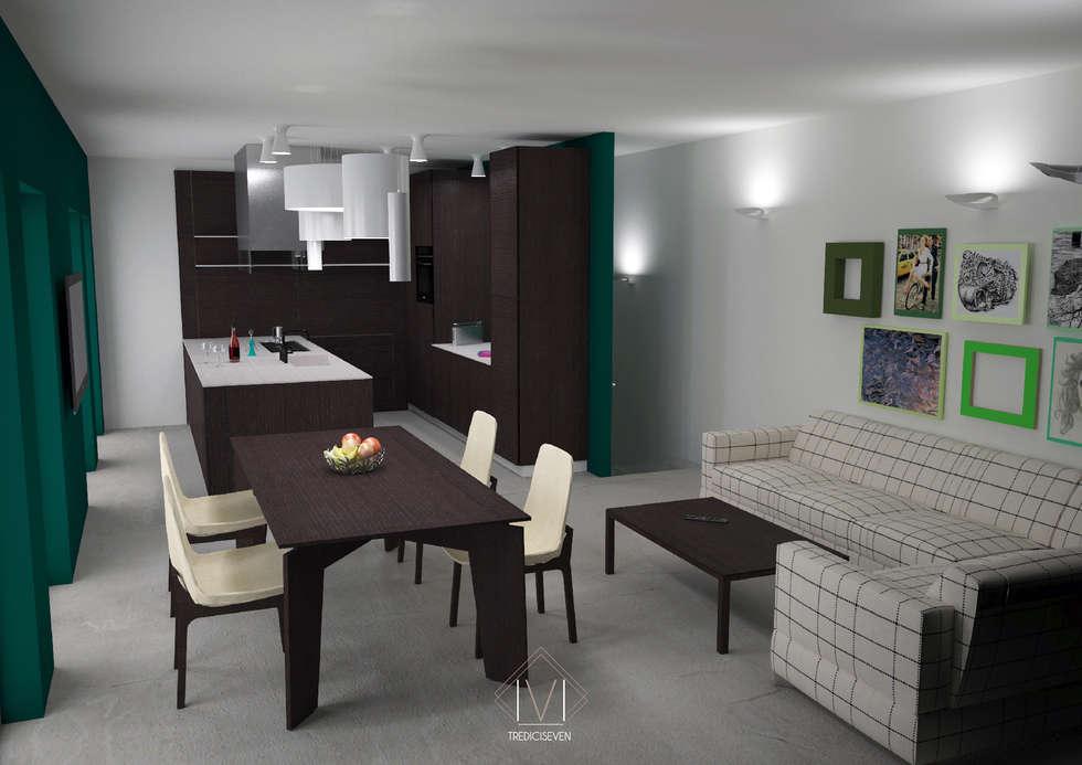 Render foto realistico soggiorno prima proposta: Cucina in stile in stile Moderno di 13seven