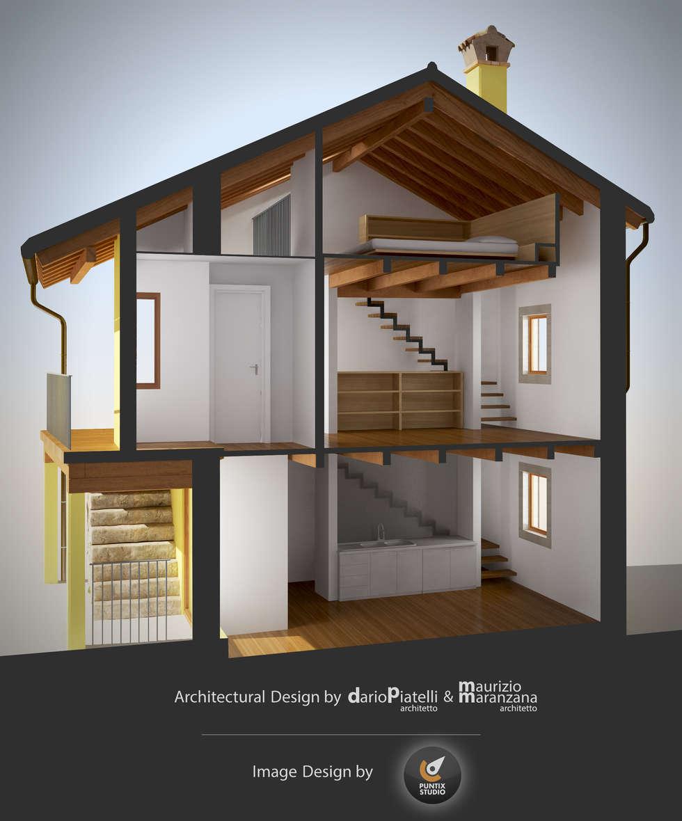 Rendering restauro spaccato prospettico.: Ingresso & Corridoio in stile  di PUNTIX STUDIO