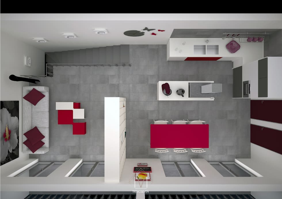 Pianta 3d seconda proposta: Cucina in stile in stile Moderno di 13seven