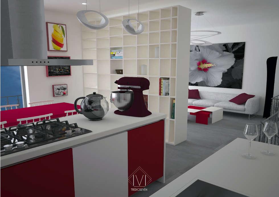 Render foto realistico cucina seconda proposta : Cucina in stile in stile Moderno di 13seven