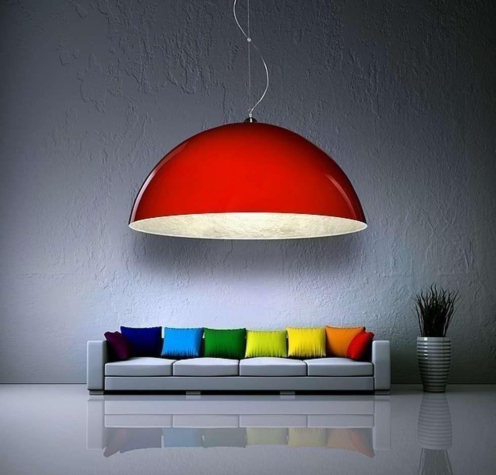 Czerwona lampa Luminato: styl , w kategorii Salon zaprojektowany przez Luxum