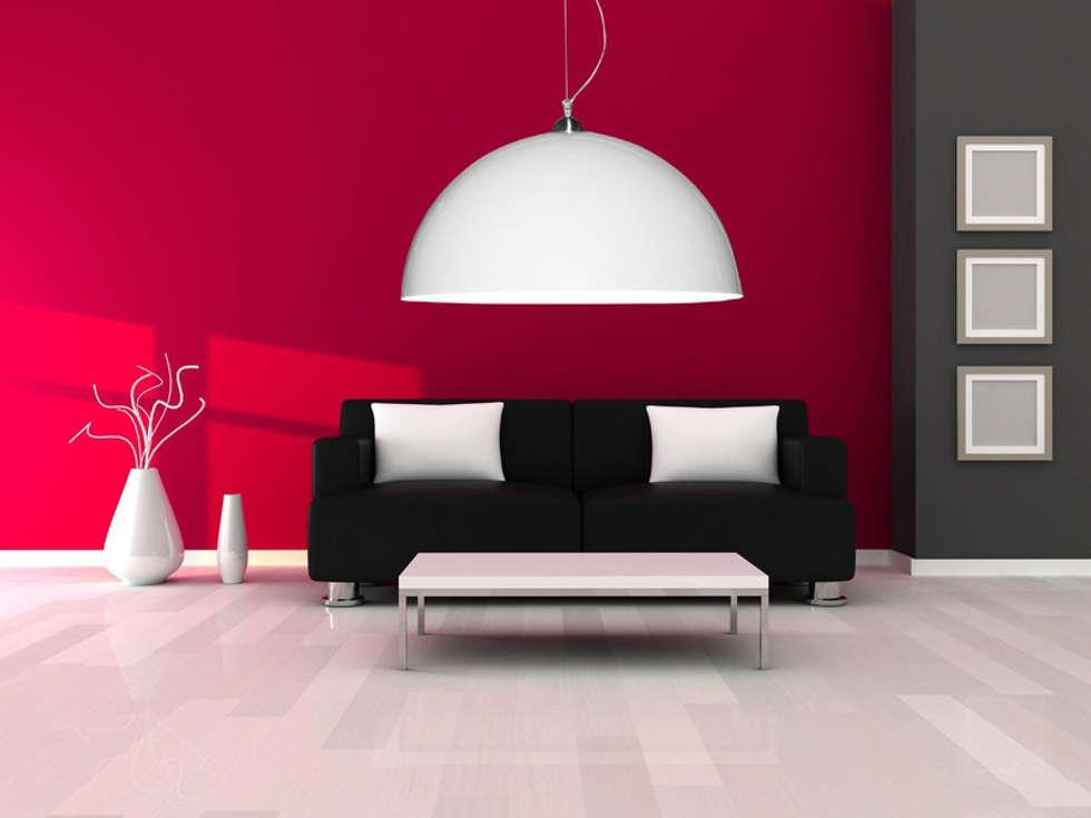 Biała lampa Luminato: styl , w kategorii Salon zaprojektowany przez Luxum