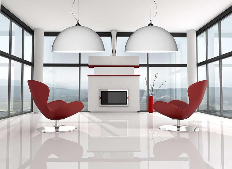 Białe lampy Luminato: styl , w kategorii Salon zaprojektowany przez Luxum