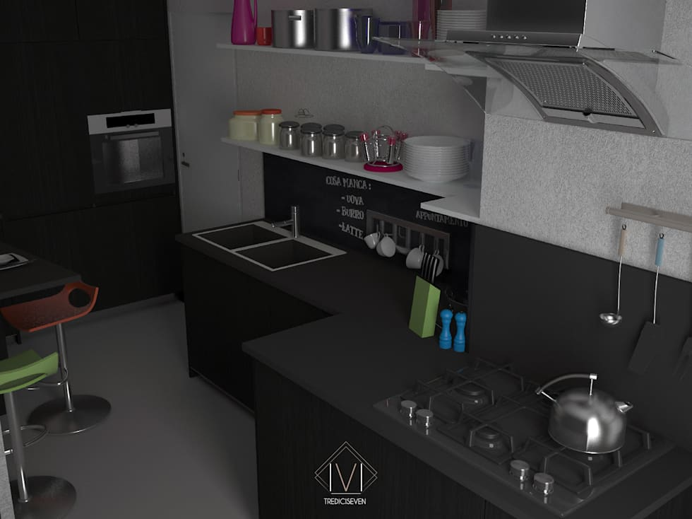 Render foto realistico cucina: Cucina in stile in stile Moderno di 13seven