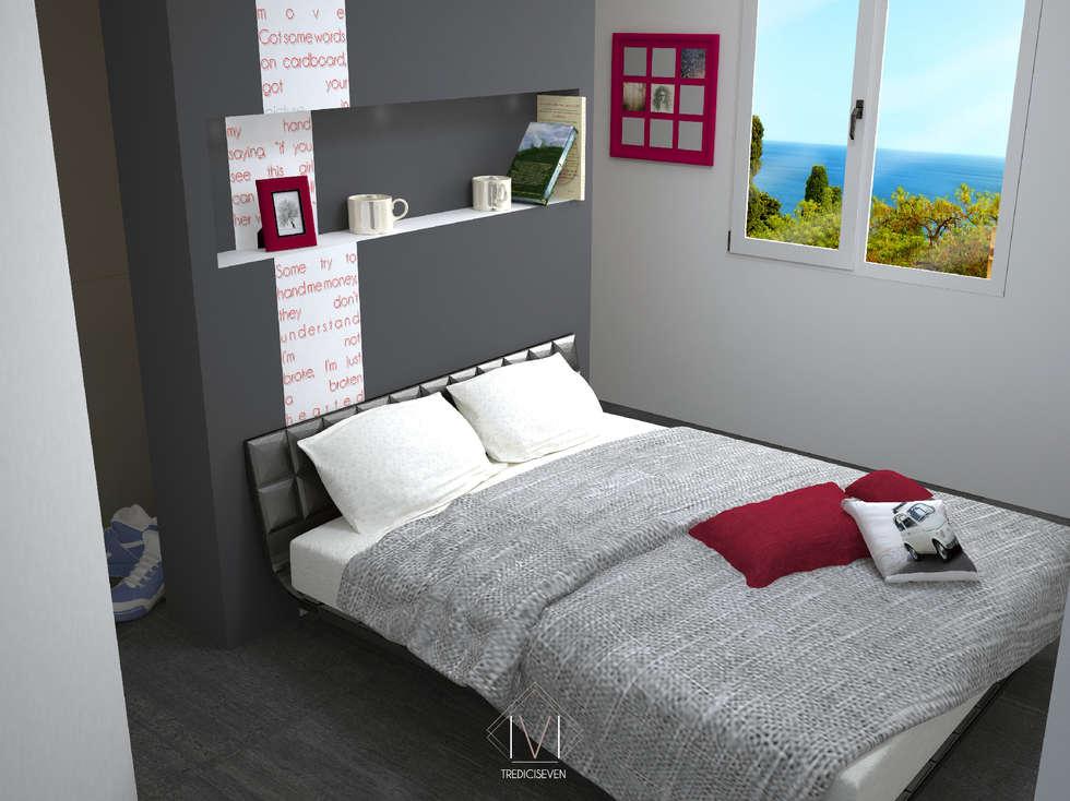 Render foto realistico camera da letto: Camera da letto in stile in stile Moderno di 13seven