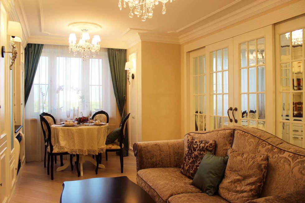 Фото интерьера гостиной-столовой в квартире: Гостиная в . Автор – Дизайн студия Ольги Кондратовой