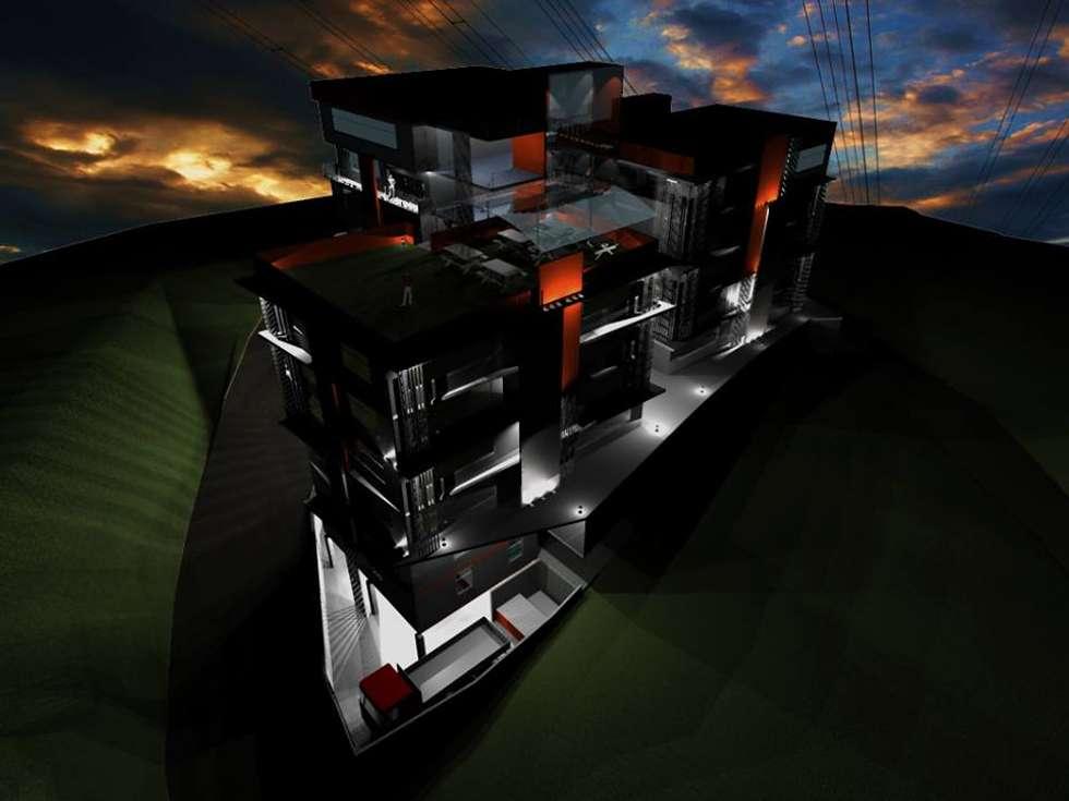Propuesta de Diseño y modelado 3D diurno y nocturno edificio residencial.: Casas de estilo moderno por Mayarik